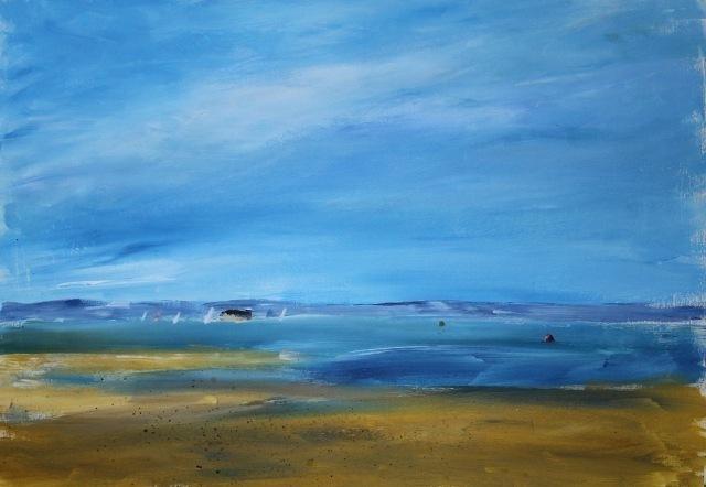 simple skyseascape painting for arttutor